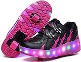 LED Lampeggiante Pattini A Doppio Rullo Pattini Invisibile Puleggia Automatica Luminoso Scarpe da Ginnastica Luce Scarpe Stringate