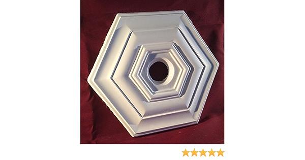 Plafonnier rose fait main en pl/âtre moderne hexagonal 380 mm