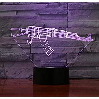 Assault Rifle AK 47 Led Night Light Color Changing Atmosphere 3D Night Lamp AKM Rifle Gun Battle Royale Weapon