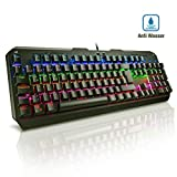 Mechanische Tastatur Gaming(QWERTZ), VicTsing blaue Switsches 7 Farben LED-Hintergrundbeleuchtung, Anti-Ghosting 105-Taste Mechanical Keyboard mit USB-Kabel, Programmierbar Multi-Key für Gamer