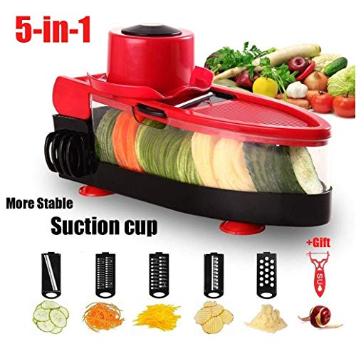 WYBD.Y Cocina Mandoline Slicer Cutter Chopper y Rallador Vegetable Dicer 5-en-1 Julienne Spiralizer...