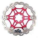 Mountainbike Bremsscheibe 203mm Fahrrad Bremsscheibe, MTB schwimmende Scheibe 6-Loch kompatibel mit Avid, Magura, Hayes, Tektro, Shimano uvm (Rot, 203mm)