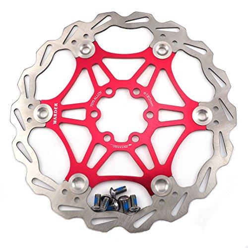 Freno de disco MTB, Bicicleta de Montaña 160mm 180mm 203mm flotante Freno disco rotores compatible con Shimano, Avid, Magura, Hayes, Tektro y muchos más (Rojo, 203mm)