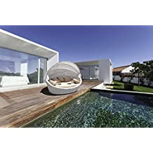 LuxuryGarden–Sofá redondo de ratán de jardín chaise longue Basma blanco Muebles de jardín para terraza de piscina
