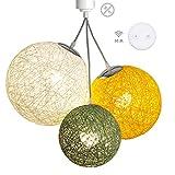 Luminaire Suspension E27-100% prêt à l'emploi sans outils - A visser directement sur une douille E27 - Télécommande sans fil - 3 boules en chanvre naturel - 3 ampoules LED E27 incluses (3x9W)-Oslo