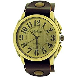 Medley Gents Analogue Goldtone Dial Wide Brown Leather Cuff Strap Watch MED16