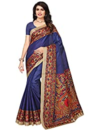 Ishin Poly Synthetic Kalamkari Printed Women's Saree Sari