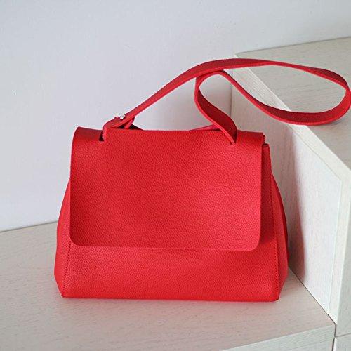 Wealsex Sac à main Bandoulière Cuir Souple Epaule Sac Fourre tout OL Pour Shopping Travail Elégant Mode Taille 39 * 35 * 28 CM Femme rouge