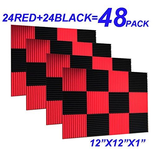 48Stück schwarz rot 2,5x 30,5x 30,5cm Keil Studio Akustik Schaumstoff Dämmunterlage Wand Paneele