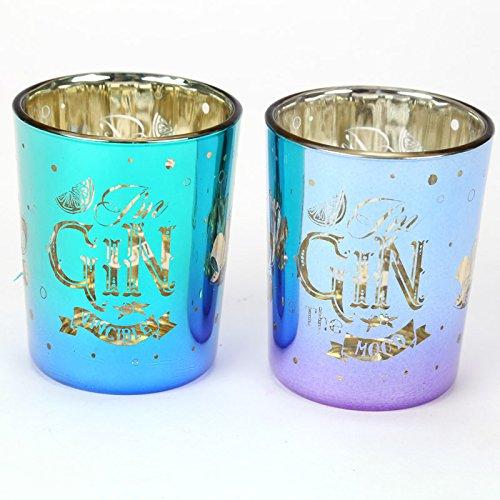 Puckator???Gin Slogan Set von 2?Glas Teelicht oder Votivkerze Inhaber