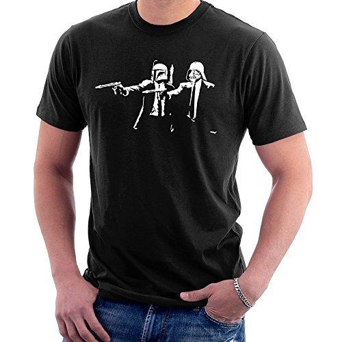 Bansky Star Wars Pulp Fiction, Uomo T-Shirt - cotone, Nero, nero medio, medio,, 100% cotone, Uomo, M