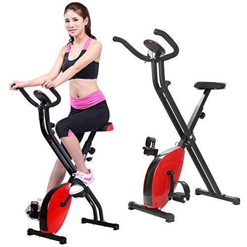 POPSPARKk Fitnessbikes Home Fitness Fahrrad mit Test-Herzfrequenz und LED Heimtrainer Fahrrad Cardio faltbar (schwarz, rot)