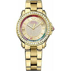 Juicy Couture Pedigree Women's Quartz Watch with Gold Dial Analogue Display and Rose Gold Bracelet 1901228