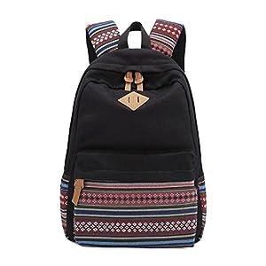 Evay Mochila de tela Vintage bolsa de escuela de rayas coloridas para la juventud Adolescente Chicas y los niños ligero Cute impermeable Casual Daypack 14 pulgadas de la escuela portátil Mochila Escolar Azul