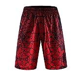 1Bests Männer Sport Basketball Print Hose Leicht Kühlen Trockenen Shorts mit Tasche (S113, XXL)