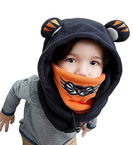 Bigood Cagoule bébé Enfant Bonnet Cache Oreilles Cou Chapeau Hiver Capuche Animaux Déguisement Bleu Tour Tête 48-54cm