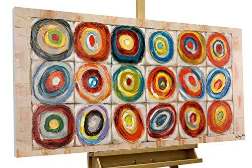 KunstLoft® Acryl-Gemälde 'Kostbarkeiten' 120x60cm | original handgemalte Leinwand Bilder XXL | Abstrakt Kreise Bunt | Wandbild Acrylbild Moderne Kunst einteilig mit Rahmen