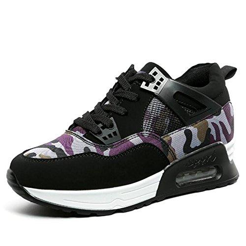 GESIMEI Femmes Mode Camouflage Couleur Bloque Baskets Chaussures Plateforme Air des Étudiants (S'il vous plaît vérifier le tableau des tailles dans l'image principale) Violet