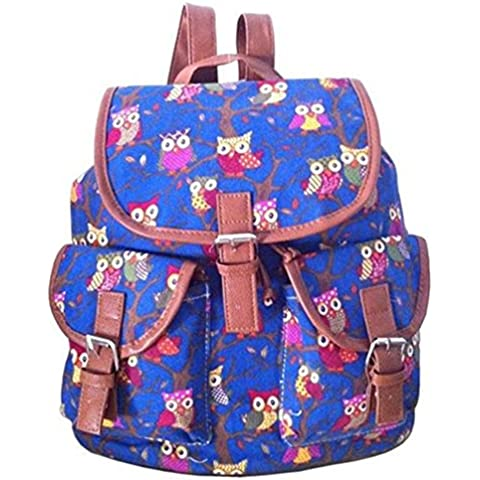 NORU bolsas niñas elegante Retro Búho Impresión Mochila mochila hombro mano mochila escolar, Infantil, azul marino, talla