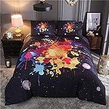 CHAOSE Farbgraffiti, Kosmischer Sternenklarer Himmel Bettwäsche Set,Superweiche Polyester-Baumwolle,3-teilig (1 Bettbezug + 2 Kissenbezüge 50x70cm) (Bunter Sternenhimmel, King Size(220x240CM 2M Breites Bett))