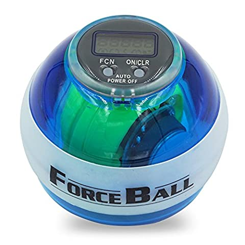 Powerball LED Lights Wrist Ball Gyroscopic Wrist and Hand Exerciser with Digital LCD Speed Counter for Strengthens Forearm Muscles&Rehabilitates Wrist Pain (Blue-With Counter)