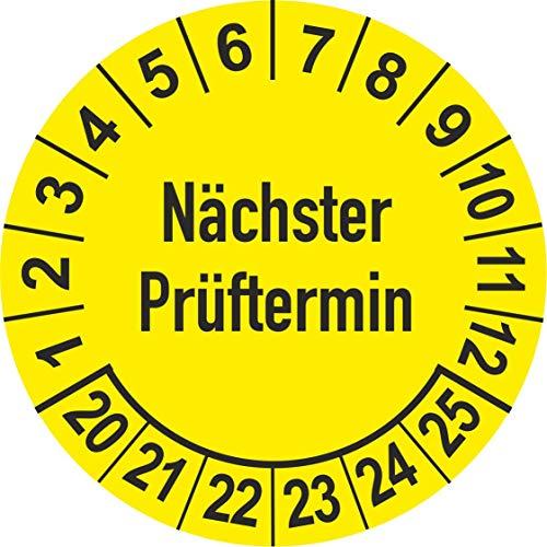 Prüfplaketten 2020 - gelb - mehrjährig - Ø 25 mm: - 250 Stück - aus hochwertiger Haftfolie - Staffelpreise unter Amazon Business ab 3, 6, 11 VE