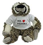 Bradypus de peluche con Amo Hadara en la camiseta (nombre de pila/apellido/apodo)