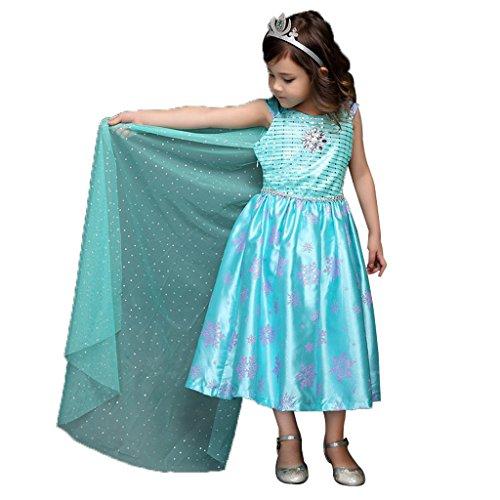 Pettigirl Mädchen Königin Kostüm Halloween Karneval Prinzessinkleid mit Haarschmuck 3-11 Jahre (130(6Jahre), Blau2)
