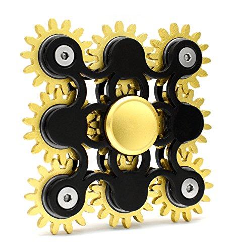 *Edler Fidget Spinner 9 Zahnräder aus Metall lange Drehzeit bis 5 min + Metallbox Hand Toy Finger Spielzeug (schwarz)*