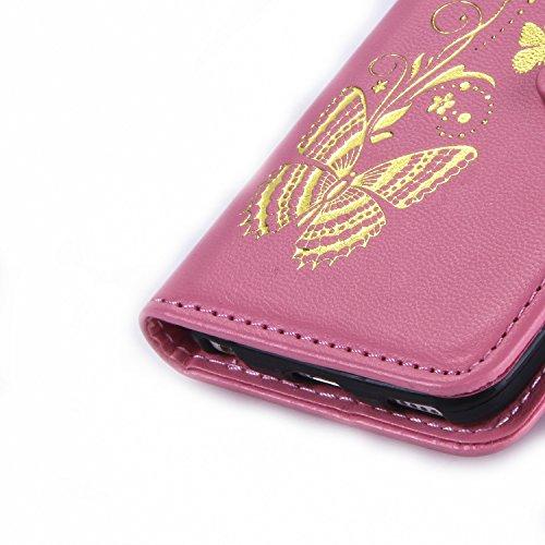 iPhone Case Cover IPod-Touch-5 Fall-Abdeckung mit Lanyard-Bügel-Karten-Bargeld-Slots, Premium-PU-Leder-Kasten-Mappen-Kasten Geprägte Schmetterlings-Case für iPod Touch 5 ( Color : Golden , Size : IPho Pink