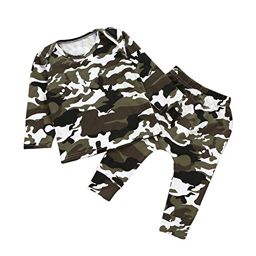 Brightup Baby Junge Camouflage Langarm T-Shirt Tops + Camo Hosen Outfits Set