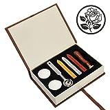 Mogoko Boîte de Sceau Cire Bougie Cuillère pour Cachet Timbre Lettre Invitation Cadeau - Cuivre Bois Vintage Rétro Classique - The Rose 3