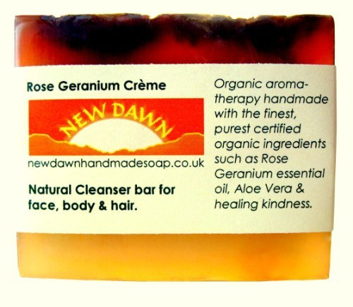 Handmade Natural Rose Geranium Soap Bar - Range No.2 - Acne, Eczema, Psoriasis, Itchy Skin, PMT and Hormone Imbalance Relief - 75g by New Dawn (Soap-hormone)