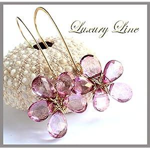 EINZELSTÜCK Ohrringe Ohrhänger rosa Mystic Quarz 925 Silber vergoldet Blüten-Ohrringe Handarbeit Luxury-Line