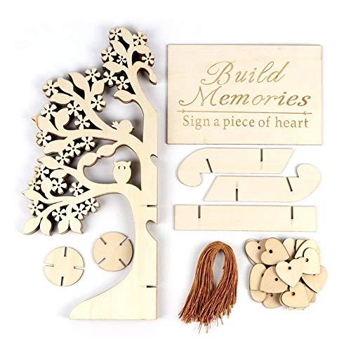 Wooden 3D Wedding Wishing Tree Registration Card Heart-Shaped Decorations Registration Card