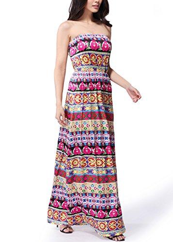 Frauen-Vintages Boho-Blumendruck-trägerloses Schlauch-Maxi Kleid C0029