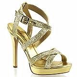 Fabulicious Lumina-21 sexy Burlesque High Heels Plateau Sandaletten, Gold-Glitter, 35-41