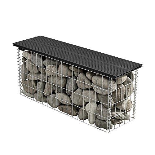 [pro.tec] Banco de jardín gavión de alta calidad con superficie de asiento de WPC negro