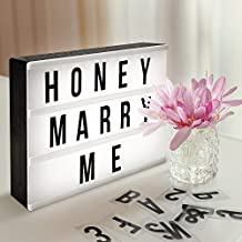 AGM Caja de Luz de Cine con 90 Cartas, Números, Símbolos y un Conector USB, el Mejor Regalo de San Valentín, DIY Cinematográfica A4 Caja de Luz LED