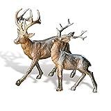 Loberon Hirsche 2er Set Rudy & Son, Weihnachten, Weihnachtsfigur, Polyresin, H/B/T ca. 30/30 / 15 cm, Silber
