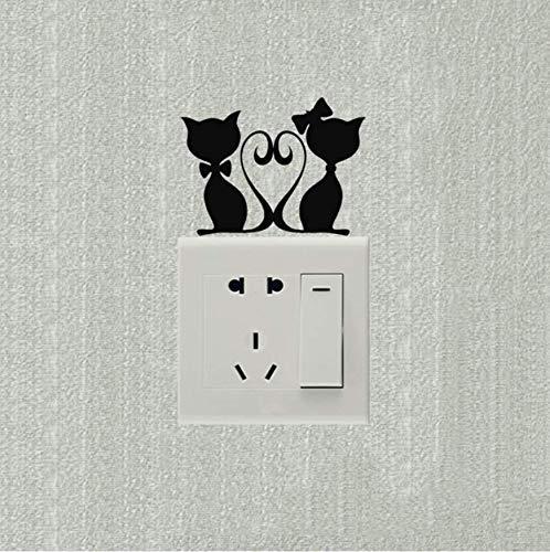 Ldwxn 5 Stücke Wandaufkleber Liebevolle Kätzchen Hochzeit Raumdekoration Schalter Aufkleber Vinyl Kunst Wandtattoos -