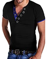 West See Herr V-Neck Shirts Tops Bluse Buttons T-Shirt Kurzarm Schwarz Weiß