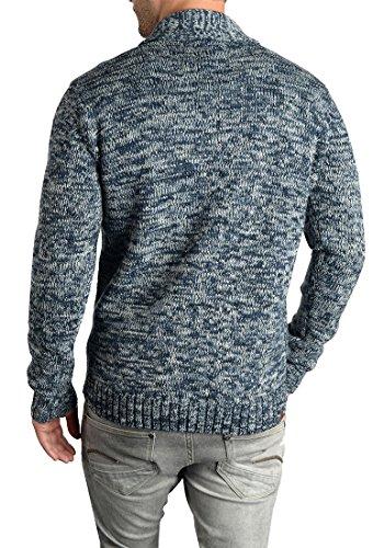 BLEND Tigre Herren Strickjacke Cardigan mit Schalkragen aus hochwertiger Baumwollmischung Meliert Navy (70230)