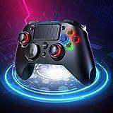 PICTEK Upgraded PS4 Controller- Wired Gaming Gamepad mit Dual-Vibration-Turbo und Trigger-Tasten für Playstation 4/ Playstation 3/ PC (Windows XP/ 7/8/ 8.1/10)/ Android/Steam, Schwarz