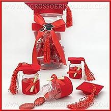 Set 12 barattolini portaconfetti in plexiglass con cappello rosso posti  all interno di un maxi 5a7c92a6e479