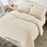 Smokys - Set copripiumino con federe per cuscino, in morbido pile, caldo e confortevole, crema, Singolo