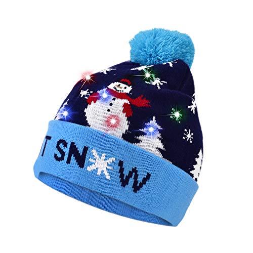 Tutuko Ugly LED Weihnachtsmütze, 6 Bunte Neuheiten, beleuchtete Weihnachtsmütze, Unisex Wintermütze, warme Strickmütze, Kinder, Männer, Frauen, Erwachsene L blau