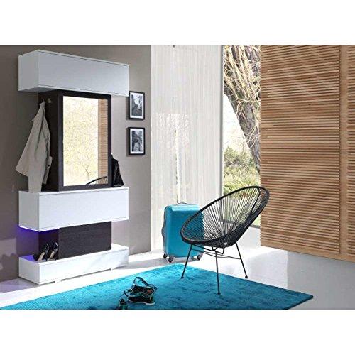 JUSTyou Top LED Garderobenset Garderobe Garderobenschrank (HxBxT): 210x100x40 cm Wenge | Weiß Matt | Weiß Hochglanz