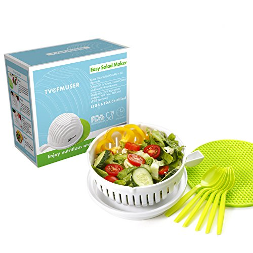 New Salad Cutter Bowl, LetsFunny Vegetable Cutter Bowl, To Slice Fruit  Vegetable In 60 Seconds (white)
