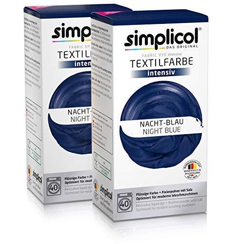 Simplicol Textilfarbe intensiv (18 Farben), Nacht-Blau 1808 2er Pack, Dunkelblau: Einfaches Färben in der Waschmaschine, All-in-1 Komplettpackung